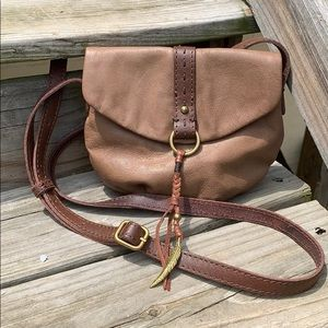 Lucky Brand brown 💯 leather crossbody